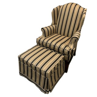 Sherrill Furniture Wing Chair and Ottoman For Sale