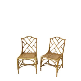 Pair Designer Italian Cane and Bamboo Wicker Rattan Side Chairs For Sale