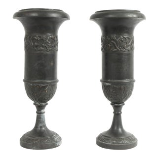 Pair of Theodore Alexander Decorative Metal Urns For Sale