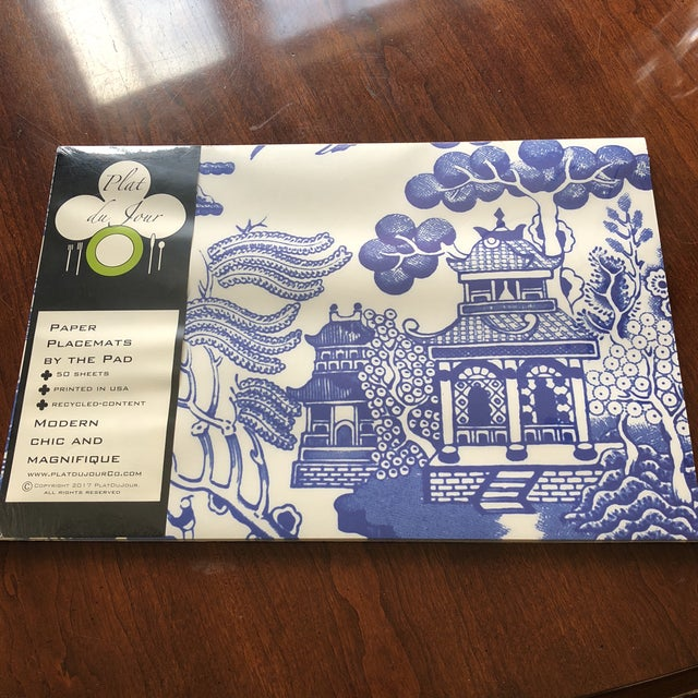 "NWT still in wrapper, pad of 50 beautiful blue chinoiserie place mats. Made by Plat du jour, measure 11.5"" x 17.25"""