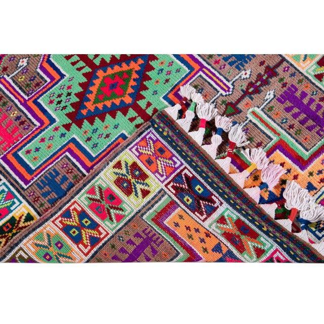 Islamic Mid-20th Century Colorful Vintage Turkish Wool Runner Rug 3 X 13 For Sale - Image 3 of 12