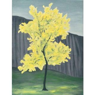 """Mid 20th Century """"Blooming Golden Primavera Tree"""" Abstract Botanical Oil Painting For Sale"""