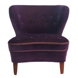 20th Century Swedish Dark Purple Velour Lounge Chair by Goesta Jonsson For Sale