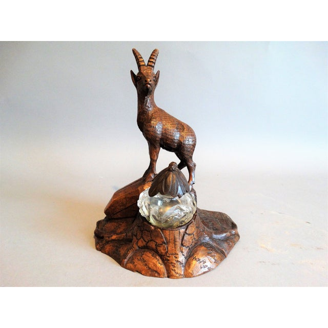 Wood Carved Black Forest Stag Inkwell For Sale - Image 7 of 7