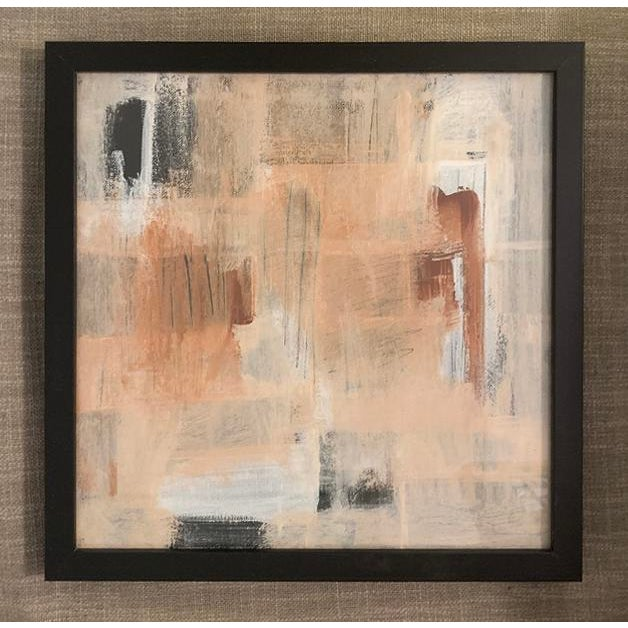 This abstract acrylic painting is a medley of black and white with touches of coral, burnt red, and peach. Framed in a...