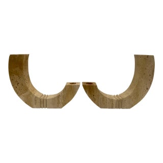 Midcentury Travertine Candle Holders For Sale