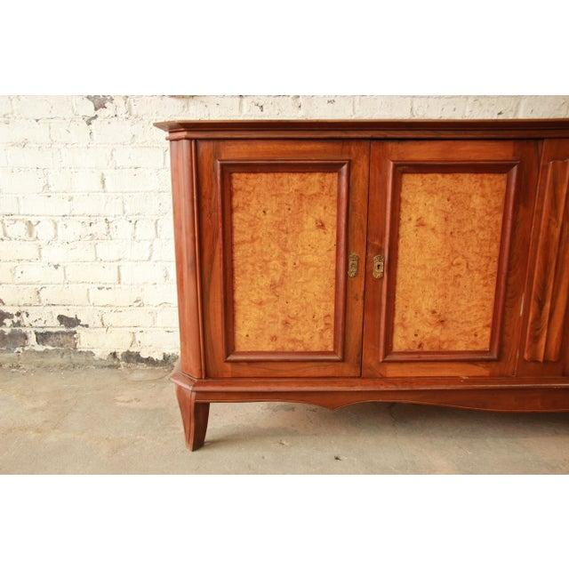 Brown Vintage French Burled and Inlaid Maple Sideboard For Sale - Image 8 of 11