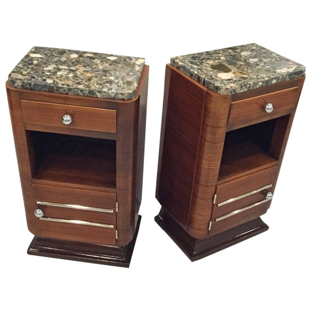 Circa 1930s French Art Deco Night Tables with Marble Tops - A Pair For Sale