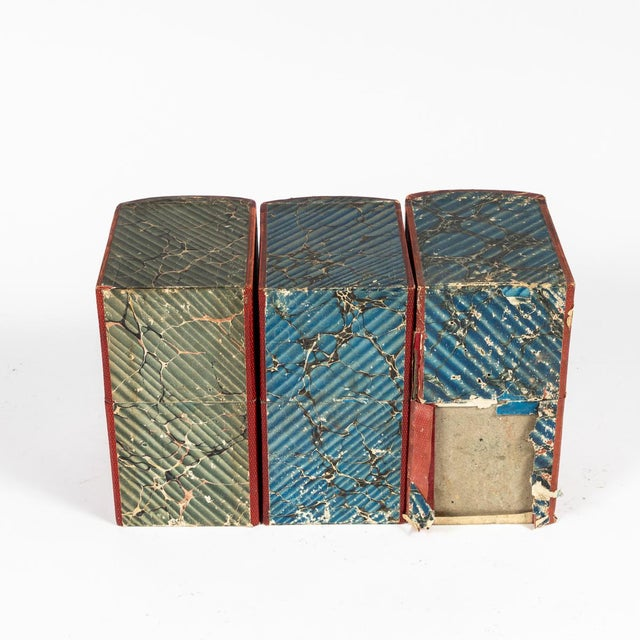 Leather Red Book Boxes With Blue Interior For Sale - Image 7 of 7