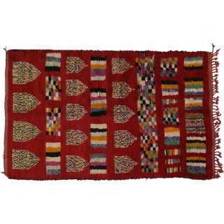 Tribal Style Vintage Berber Red Moroccan Rug - 05'04 X 08'03 For Sale