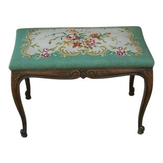 1920s Antique French Oak Bench Foot Stool Needlepoint Tapestry Vanity Stool For Sale