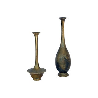 Miniature Brass Bud Vases - a Pair For Sale