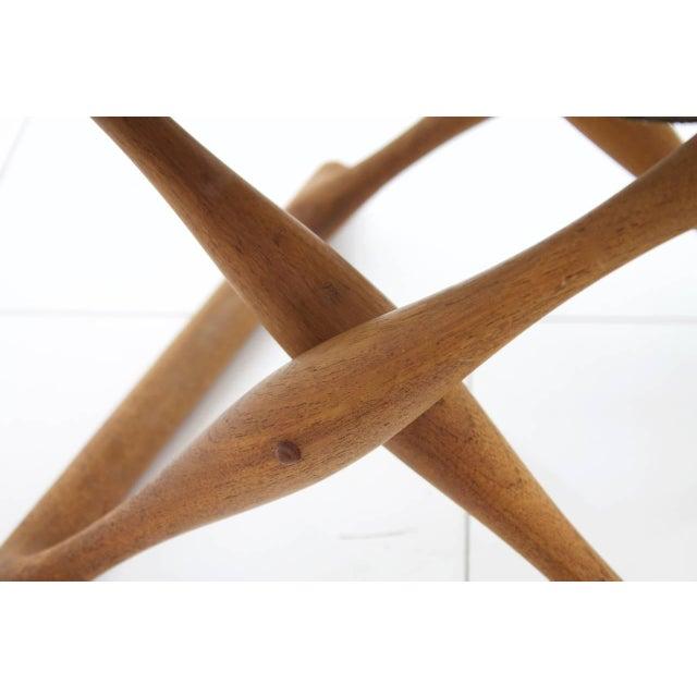 Mid-Century Modern Poul Hundevad Folding Stool, Teak and Leather For Sale - Image 3 of 7
