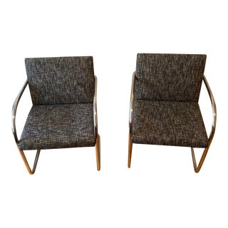 Black and White Tweed Tubular Chairs - A Pair For Sale