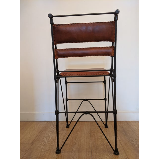 Brutalist Brutalist Pair of Industrial Leather and Iron Barstools by Ilana Goor. For Sale - Image 3 of 9