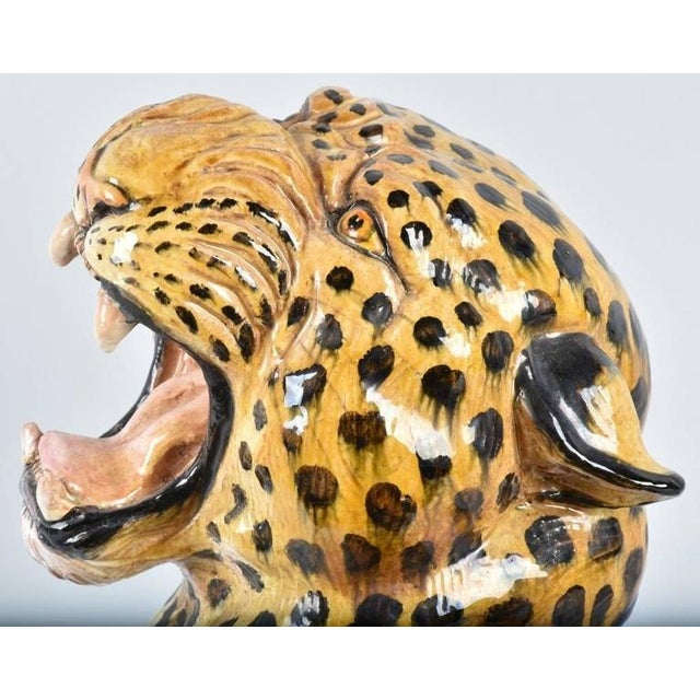 1960s 20th Century Italian Hand-Painted Statue of Seated Leopard For Sale - Image 5 of 9