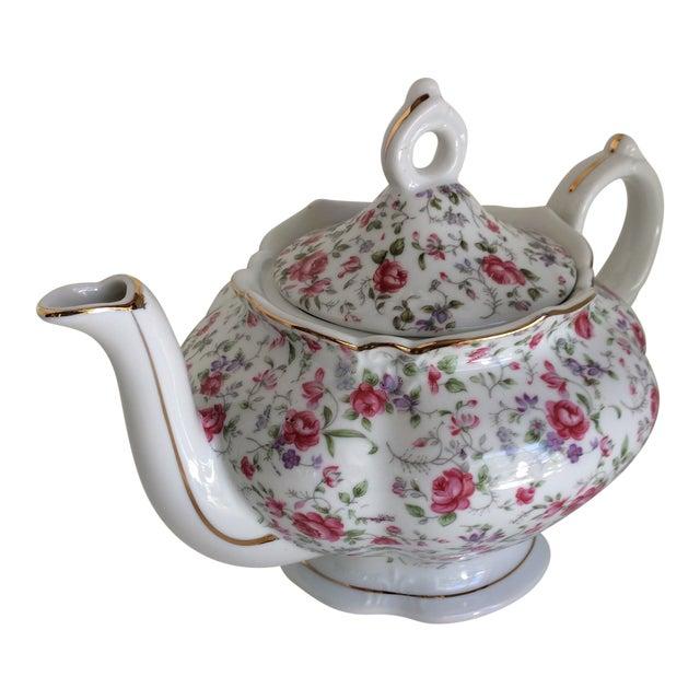Vintage Rose Chintz Musical Tea Pot by Lefton For Sale
