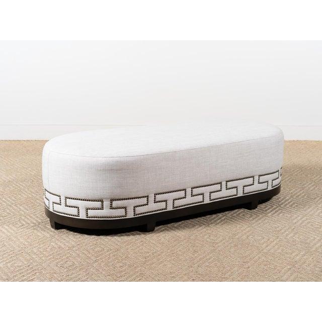 Greek Key Upholstered Bench For Sale - Image 4 of 4