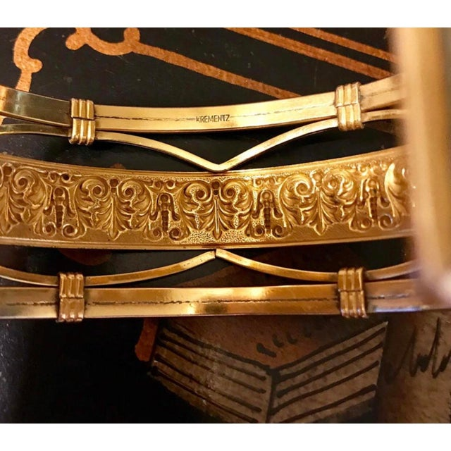 1930s 1930s to 1940s Krementz 14k Gold Overlay Ornate Motif Cuff For Sale - Image 5 of 6