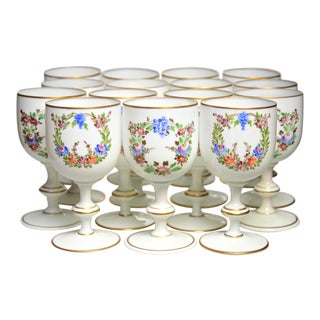 Mid 20th Century French Enameled Hand Blown Glass Goblets - Set of 14 For Sale