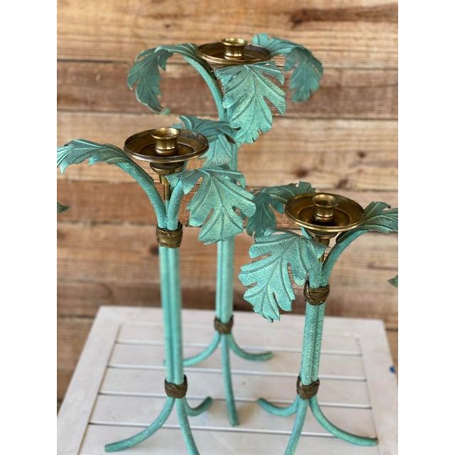 Hollywood Regency Verdigris and Brass Palm Leaf Candle Holders - Set of 3 For Sale - Image 11 of 12