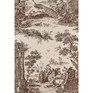 """Schumacher Wallpaper Colonial Williamsburg Collection """"Jones Toile"""" in Color 'Sepia' 1 Double Roll For Sale"""