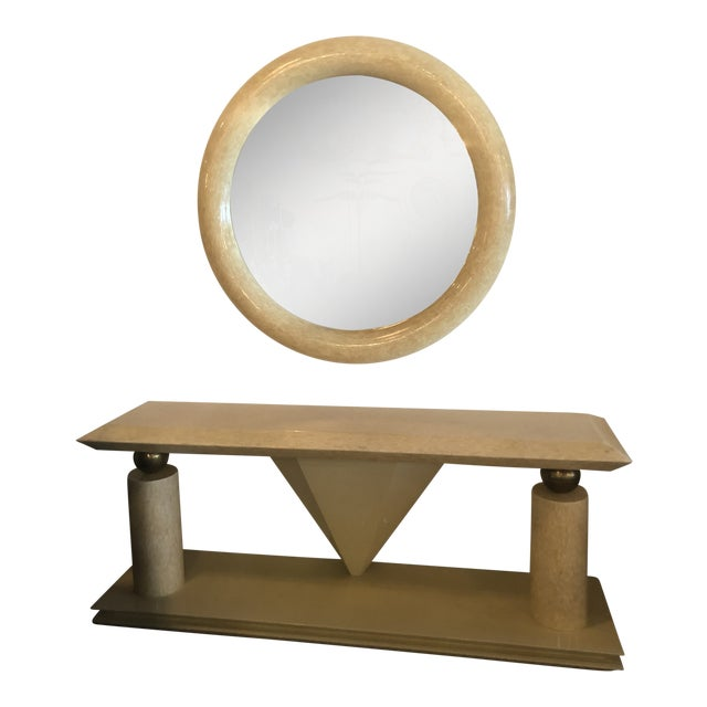 Vintage Bone Brass Console Table and Wall Mirror Set For Sale