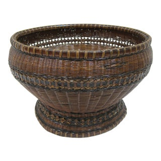 Antique Woven Basket Bowl For Sale