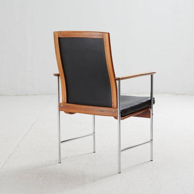 Mid-Century Modern Set of Four Finnish Rosewood Armchairs For Sale - Image 3 of 8