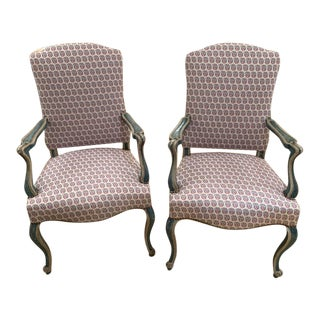 Mid 20th Century Venetian Style Blue and Off White Painted Armchairs - A Pair For Sale