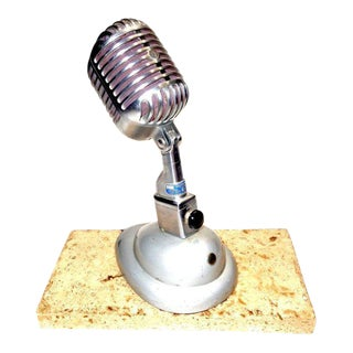Shure Model 55 Studio Microphone With Correct Desk Stand Circa 1950s. Display As Sculpture. For Sale