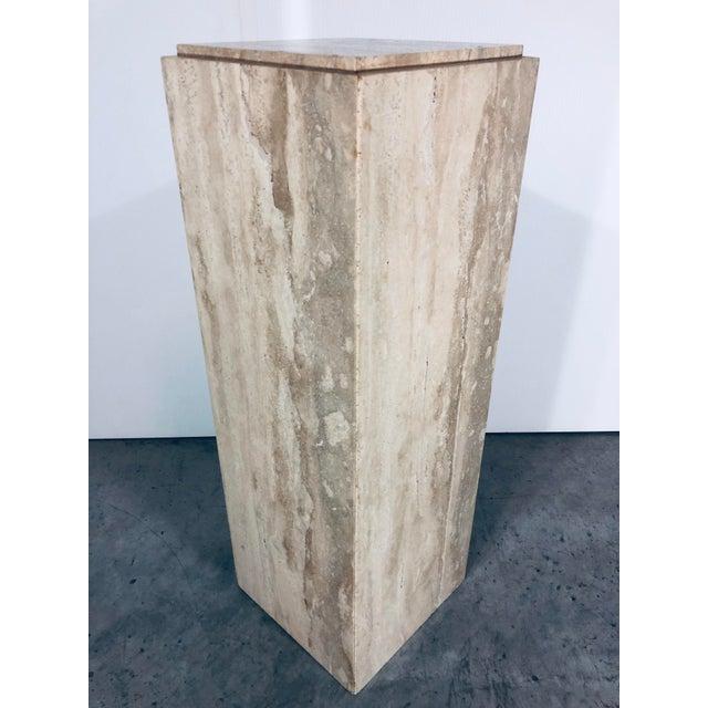 1970s 1970s Mid-Century Modern Italian Travertine Pedestal Table For Sale - Image 5 of 10