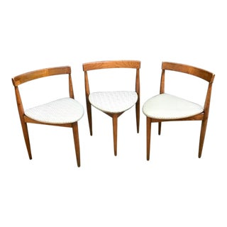 Hans Olsen for Frem Rojle Walnut Corner Chairs- Set of 3 For Sale