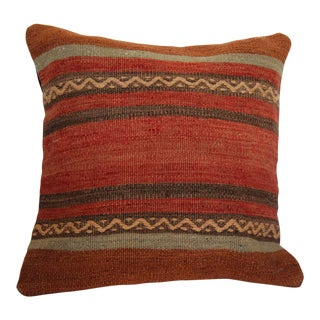Vintage Boho Chic Handmade Kilim Pillow Cover For Sale