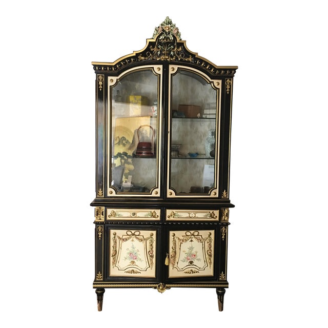 Italian Lacquer Glass Showcase Cabinet With Flower - Image 1 of 11