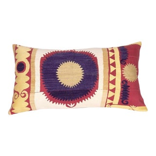 Vintage Embroidered Samarkand Lumbar Pillow For Sale