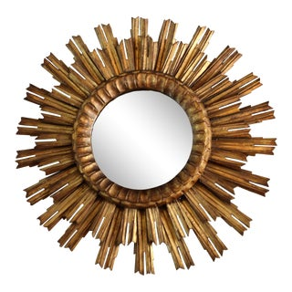 French Antique Sunburst Mirror For Sale