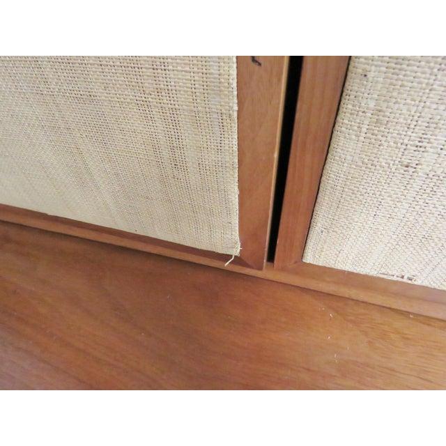 John Stuart Modern Teak & Burlap Breakfront Cabinet - Image 4 of 9