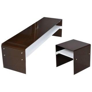 Leon Rosen for Pace Lucite Acrylic Modern Coffee Table & End Table Set For Sale