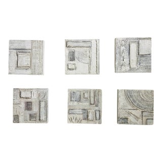 Contemporary Modernist Mixed-Media Paintings - Set of 6 For Sale