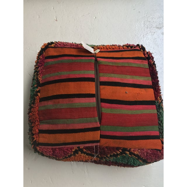 Vintage Moroccan Wool Pouf - Image 7 of 10