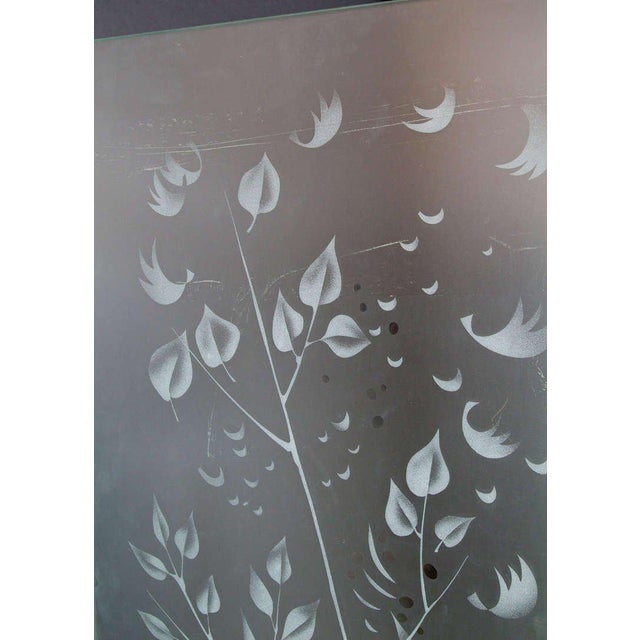Glass Four-Panel Etched Glass Screen For Sale - Image 7 of 9