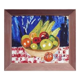 1960s Still Life Basket of Fruit Oil Painting, Framed For Sale