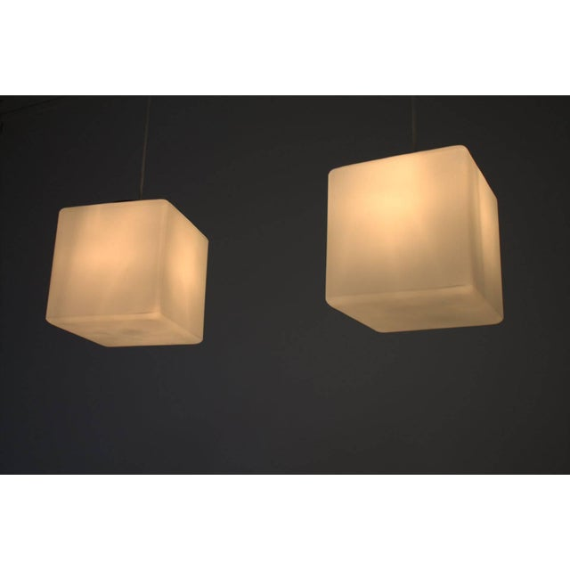 White Pair of Milk Glass Cube Pendants by Stilnovo, Italy, 1960s For Sale - Image 8 of 8