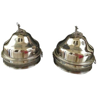 Pair of Silver Sheffield Food Warmers For Sale