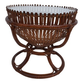 Franco Albini Style Sculptural Fish Trap Basket Rattan Round Side Table