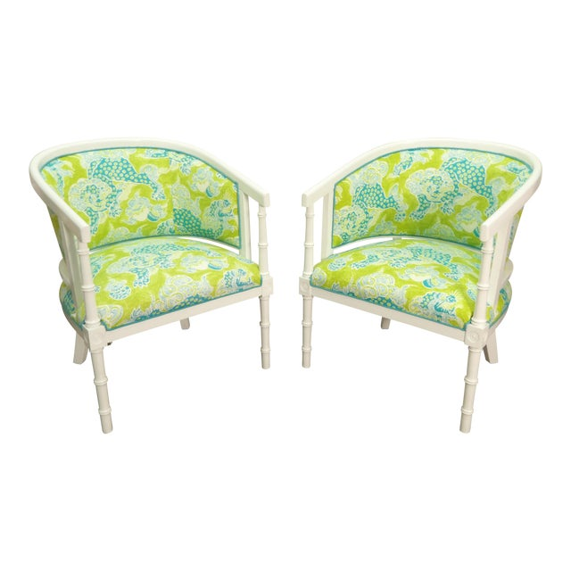 Green & White Tub Chairs - a Pair For Sale