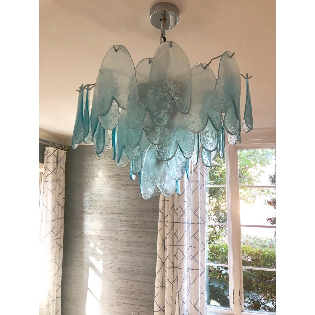 Paolo Venini Murano 3-Tier Turquoise Chandelier For Sale - Image 4 of 7