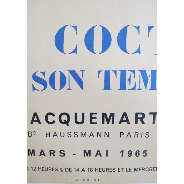 Mid-Century Modern 1965 Original Picasso Exhibition Poster, Jean Cocteau For Sale - Image 3 of 4