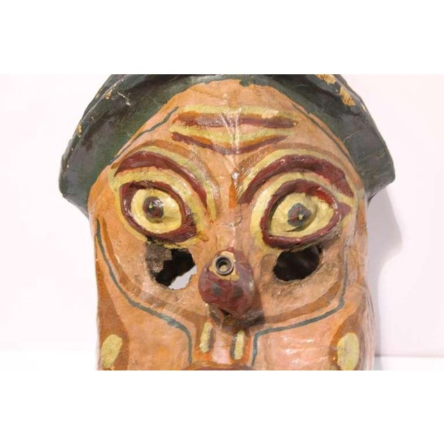 Carnival Early 20th C. Vintage Paper Mâché Carnival Head Mask For Sale - Image 3 of 4